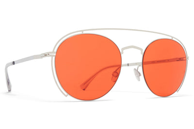 MYKITA + Maison Margiela - MMCRAFT009 Shiny Silver with Ultra Red Solid Lenses
