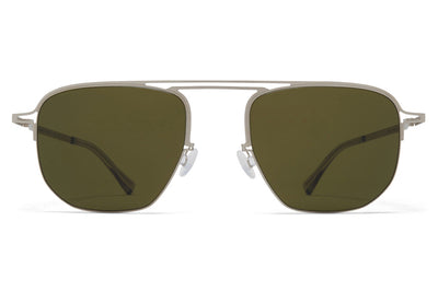 MYKITA + Maison Margiela - MMCRAFT013 Sunglasses Matte Silver with Raw Green Solid Lenses