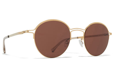 MYKITA + Maison Margiela - MMCRAFT014 Sunglasses Glossy Gold with Brown Solid Lenses