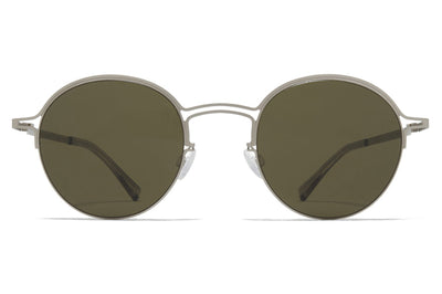 MYKITA + Maison Margiela - MMCRAFT014 Sunglasses Matte Silver with Raw Green Solid Lenses