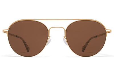 MYKITA + Maison Margiela - MMCRAFT015 Sunglasses Glossy Gold with Brown Solid Lenses