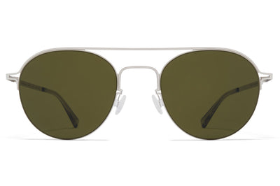 MYKITA + Maison Margiela - MMCRAFT015 Sunglasses Shiny Silver with Green Solid Lenses