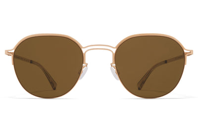 MYKITA + Maison Margiela - MMCRAFT016 Sunglasses Champagne Gold with Raw Brown Solid Lenses