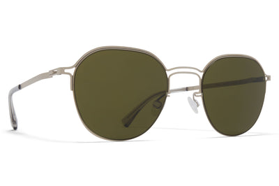 MYKITA + Maison Margiela - MMCRAFT016 Sunglasses Shiny Silver with Green Solid Lenses