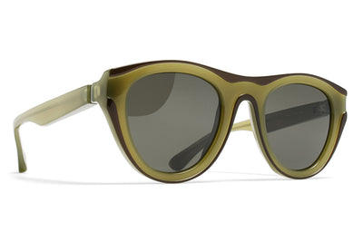 MYKITA + Martin Margiela - MMDUAL004 Sunglasses D9 Green/Dark Green with Raw Green Solid Lenses
