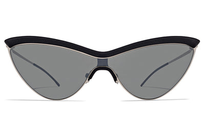 MYKITA + Maison Margiela - MMECHO002 Sunglasses MH22 - Pitch Black/Shiny Silver with Silver Flash Shield