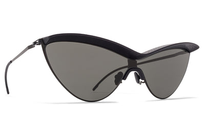 MYKITA + Maison Margiela - MMECHO002 Sunglasses MH6 Pitch Black/Black with Dark Grey Solid Shield