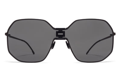 MYKITA + Maison Margiela - MMECHO003 Sunglasses MH6 Pitch Black/Black with Dark Grey Solid Shield