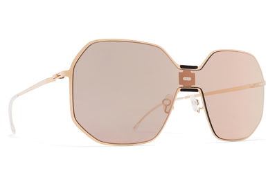 MYKITA + Maison Margiela - MMECHO003 Sunglasses MH8 Ebony Brown/Champagne Gold with Champagne Gold Shield