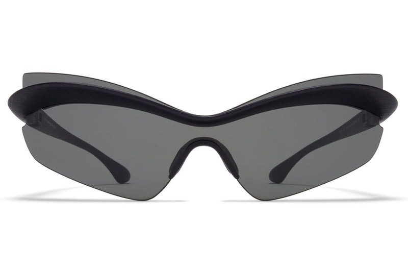 MYKITA + Maison Margiela - MMECHO004 Sunglasses MD1 - Pitch Black with Dark Grey Solid Shield