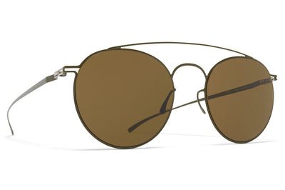 MYKITA + Maison Margiela - MMESSE005 Sunglasses E16 Camou Green with Raw Brown Solid Lenses