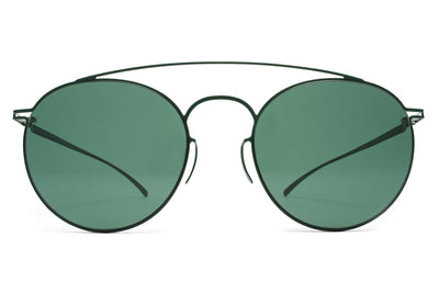 MYKITA + Maison Margiela - MMESSE005 Sunglasses E8 Dark Green with Dark Green Solid Lenses