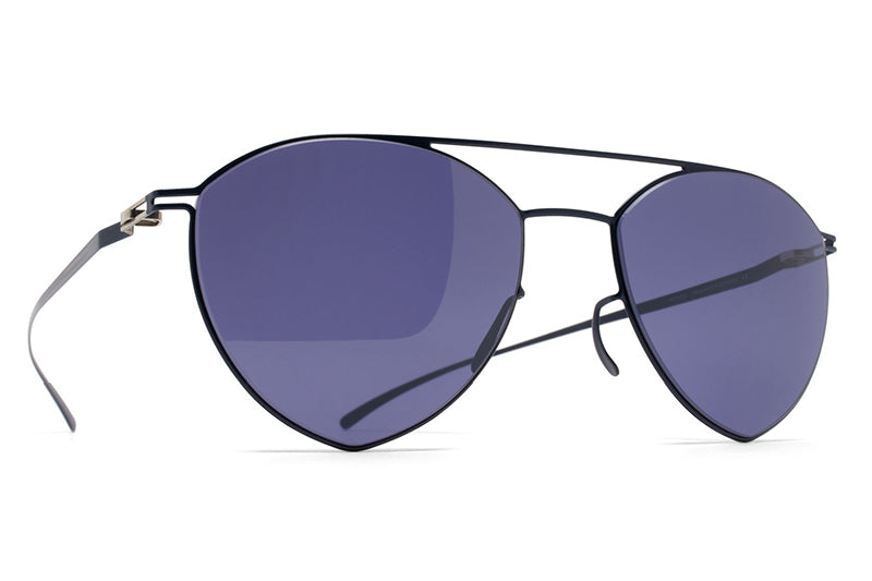 MYKITA + Maison Margiela - MMESSE010 Sunglasses E10 Dark Blue with Indigo Solid Lenses