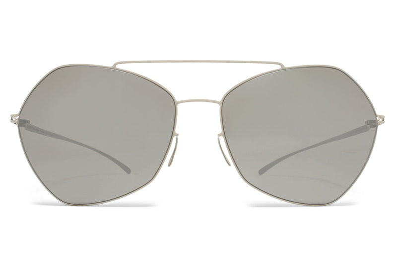 MYKITA + Maison Margiela - MMESSE012 Sunglasses E11 Light Grey with Mirror Black Lenses