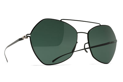 MYKITA + Maison Margiela - MMESSE012 Sunglasses E8 Dark Green with Dark Green Solid Lenses