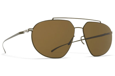 MYKITA + Maison Margiela - MMESSE022 Sunglasses E16 Camou Green with Raw Brown Solid Lenses