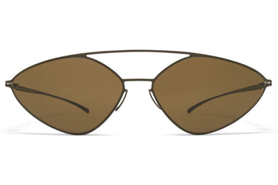 MYKITA + Maison Margiela - MMESSE023 Sunglasses E16 Camou Green with Raw Brown Solid Lenses