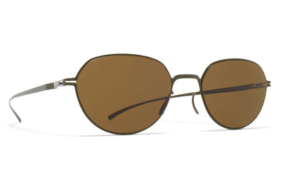 MYKITA + Maison Margiela - MMESSE024 Sunglasses E16 Camou Green with Raw Brown Solid Lenses