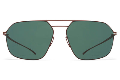 MYKITA + Maison Margiela - MMESSE026 Sunglasses E20 Matte Brown with Dark Green Solid Lenses