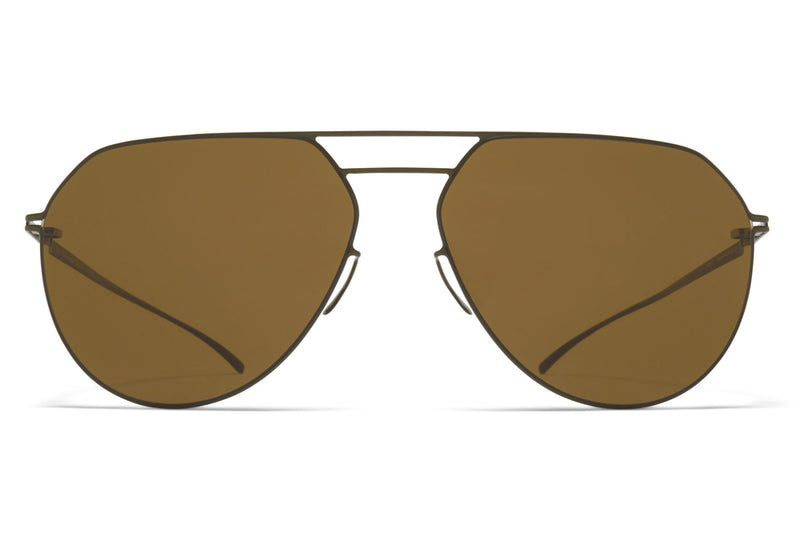MYKITA + Maison Margiela - MMESSE027 Sunglasses E16 Camou Green with Raw Brown Solid Lenses