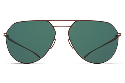 MYKITA + Maison Margiela - MMESSE027 Sunglasses E20 Matte Brown with Dark Green Solid Lenses