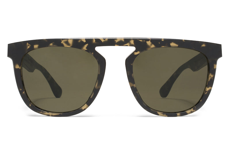 MYKITA + Martin Margiela - MMRAW004 Sunglasses Raw Black Drops with Raw Green Solid Lenses