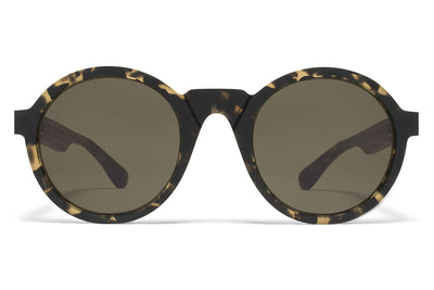 MYKITA + Martin Margiela - MMRAW006 Sunglasses Raw Black Drops with Raw Green Solid Lenses