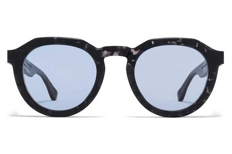MYKITA + Maison Margiela - MMRAW007 Raw Black Havana with Sky Blue Solid Lenses
