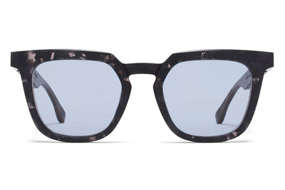 MYKITA + Maison Margiela - MMRAW008 Raw Black Havana with Sky Blue Solid Lenses