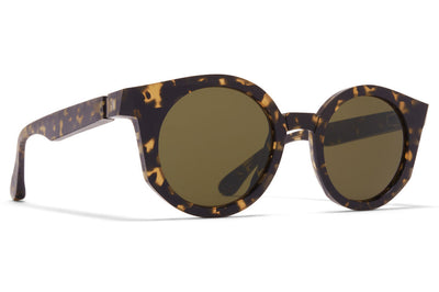 MYKITA + Maison Margiela - MMRAW013 Sunglasses Raw Black Drops with Raw Green Solid Lenses