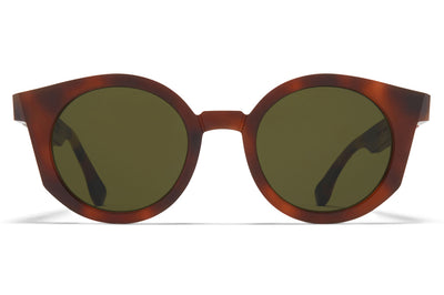 MYKITA + Maison Margiela - MMRAW013 Sunglasses Raw Zanzibar with Raw Green Solid Lenses