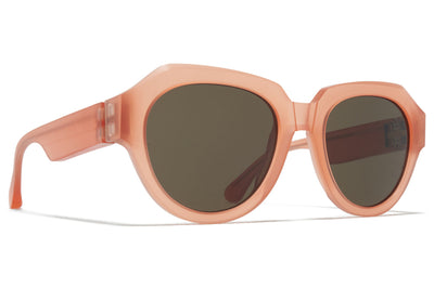 MYKITA + Maison Margiela - MMRAW014 Sunglasses Raw Misty Peach with Raw Green Solid Lenses