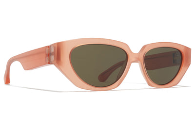 MYKITA + Maison Margiela - MMRAW015 Sunglasses Raw Misty Peach with Raw Green Solid Lenses