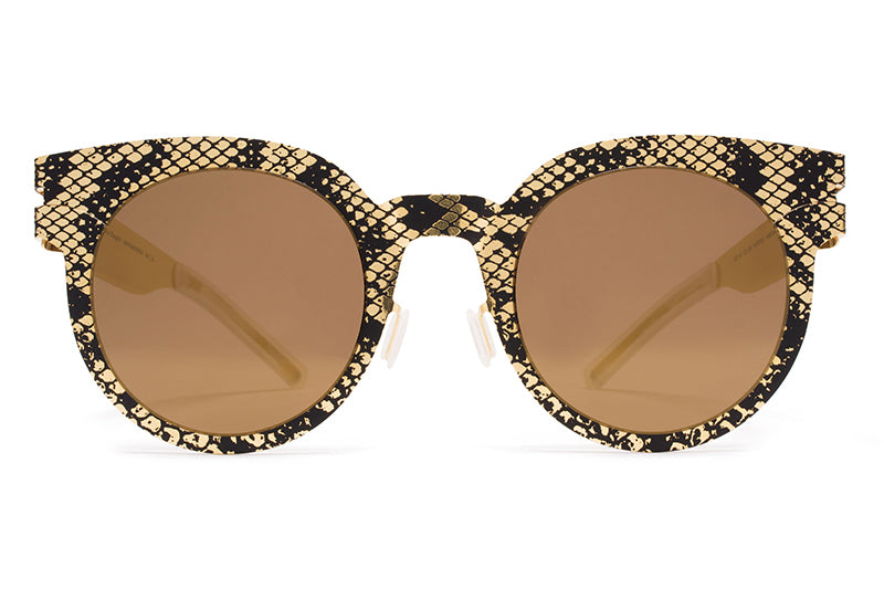 MYKITA + Maison Margiela - MMTRANSFER001 Gold/Black Python with Terra Flash Lenses