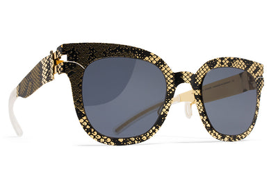 MYKITA + Maison Margiela - MMTRANSFER002 Gold/Black Python with Dark Grey Solid Lenses