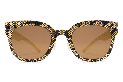 MYKITA + Maison Margiela - MMTRANSFER002 Gold/Black Python with Terra Flash Lenses