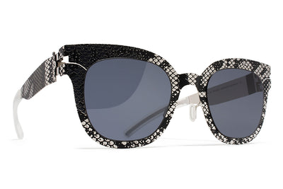 MYKITA + Maison Margiela - MMTRANSFER002 Silver/Black Python with Dark Grey Solid Lenses