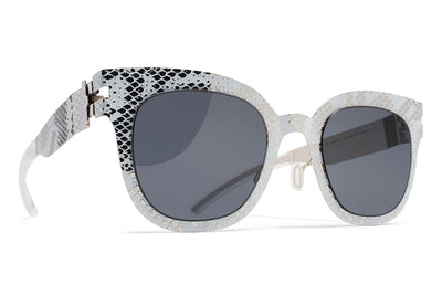 MYKITA + Maison Margiela - MMTRANSFER002 Silver/White Python with Dark Grey Solid Lenses