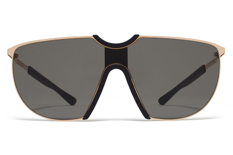 MYKITA Mylon Sunglasses - Aloe MH11 - Champagne Gold/Pitch Black with Dark Grey Solid Lenses