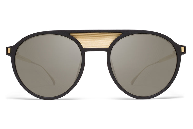 MYKITA Mylon Sunglasses - Damson MME1 - Pitch Black/Gold Mesh with Gun Metal Flash Lenses