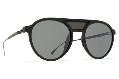 MYKITA Mylon Sunglasses - Damson MME2 - Pitch Black/Black Mesh with Mirror Black Lenses