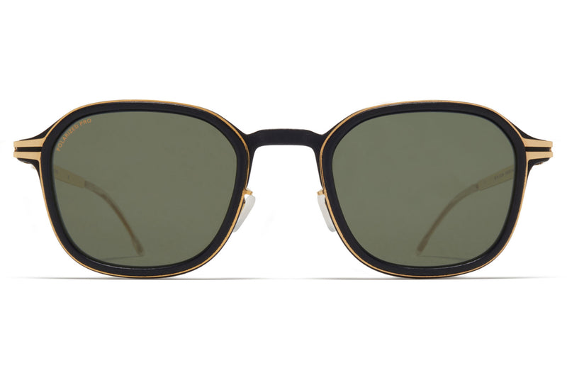MYKITA Mylon - Fir Sunglasses MH7 - Pitch Black/Glossy Gold with Polarized Pro Green 15 Lenses