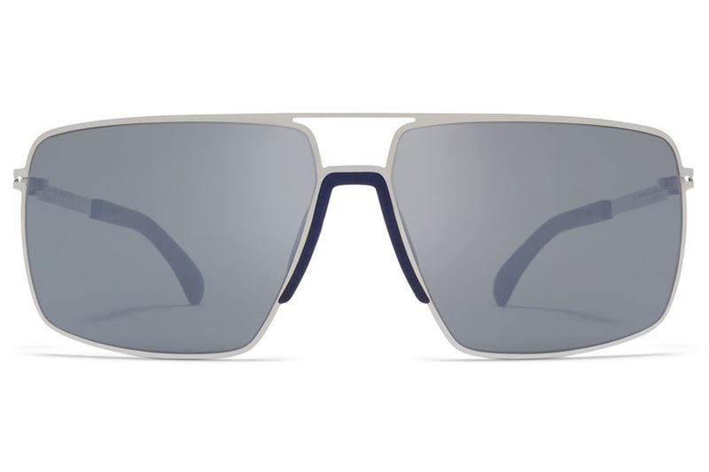 MYKITA Mylon - Lotus Sunglasses MH10 - Navy Blue/Shiny Silver with Light Silver Flash Lenses