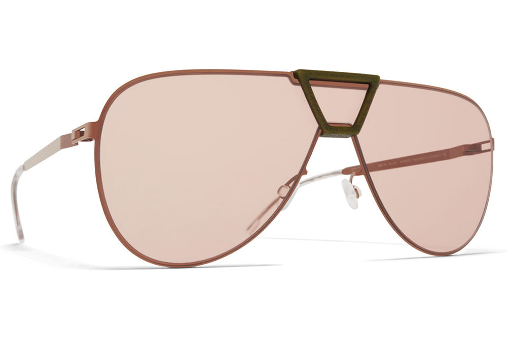 c8363ac92e MYKITA Mylon - Pepper Sunglasses MH37 - Khaki Shiny Copper with Nude Solid  Shield