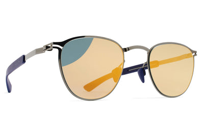MYKITA Mylon Sunglasses - Clove MH4 - Shiny Graphite/Navy Blue with Pearly Gold Flash Lenses
