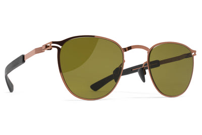 MYKITA Mylon Sunglasses - Clove MH5 - Shiny Copper/Pitch Black with Holly Green Solid Lenses