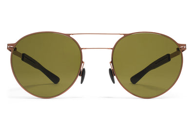 MYKITA Mylon Sunglasses - Elder MH5 - Shiny Copper/Pitch Black with Holly Green Solid Lenses