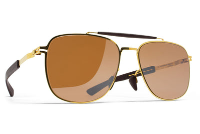 MYKITA Mylon Sunglasses - Elon MH2 - Gold/Ebony Brown with Sienna Brown Flash Lenses