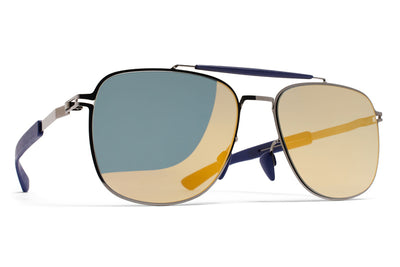 MYKITA Mylon Sunglasses - Elon MH4 - Shiny Graphite/Navy Blue with Pearly Gold Flash Lenses
