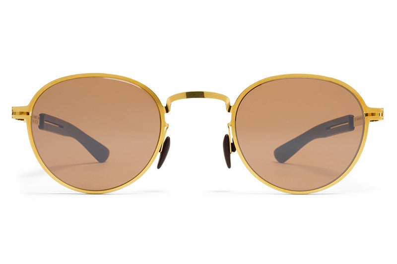 MYKITA Mylon Sunglasses - Quince MH2 - Gold/Ebony Brown with Sienna Brown Flash Lenses